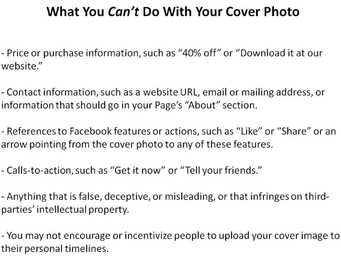 what you cannot do with cover page