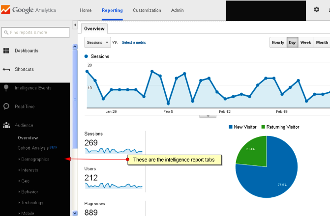 Google Analytics report page