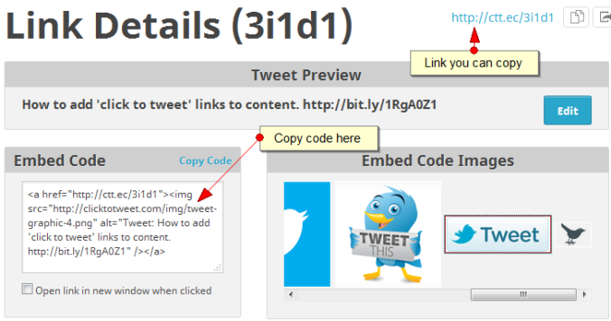Click to tweet link and code