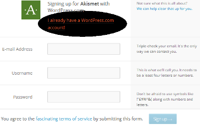 Sign up for Askimet