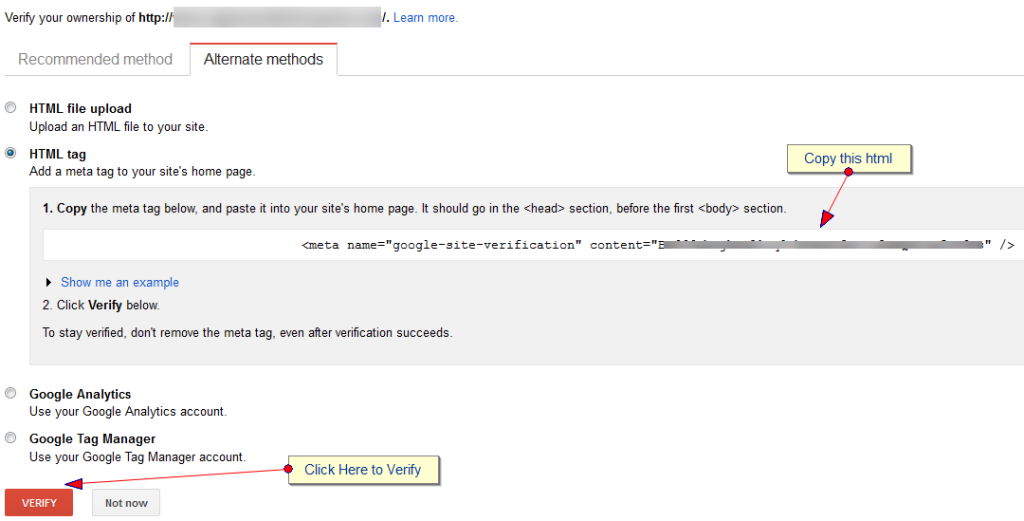 Google webmaster verification