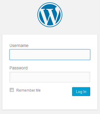 WP log in page